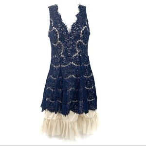 NAVY BLUE/NUDE RAW HEM LACE APRON STYLE DRESS